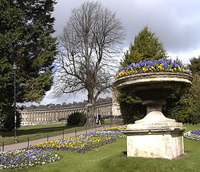 The Gravel Walk (on another visitor's fortunate, sunny day), downslope from Royal Crescent