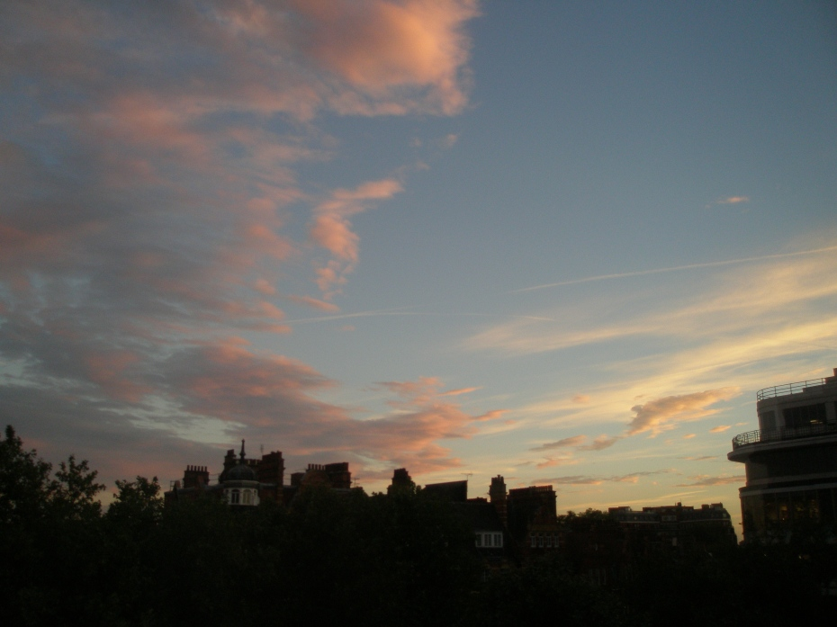 Twliight view of the southern sky from my top-floor room at London's Sloane Square Hotel
