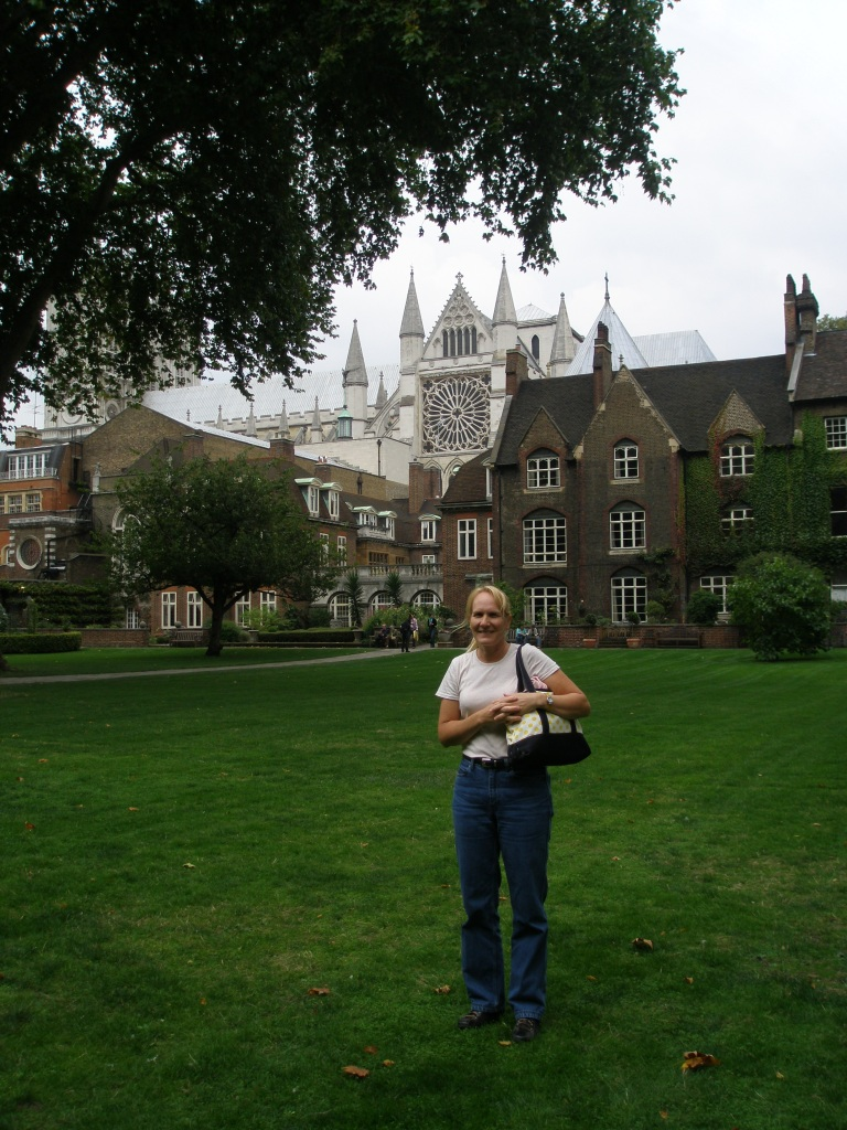 Pam in the College Garden at Westminster Abbey, in 2008