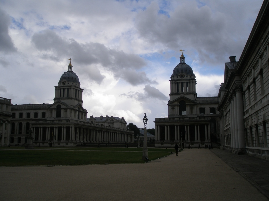 Old Royal Naval College. On the left: Queen Mary Court & Chapel. On the right: King William Court & The Painted Hall, which sits below the great dome.