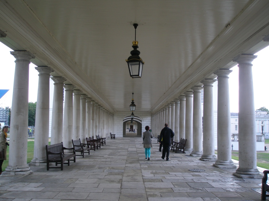 "The ""King's Side,"" or East Colonnade of The Queen's House...with Anne (to the left) peeking at me from behind a column."