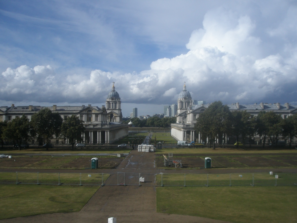 Symmetrically-placed Porta-Potties, lined up with Christopher Wren's 2 domes