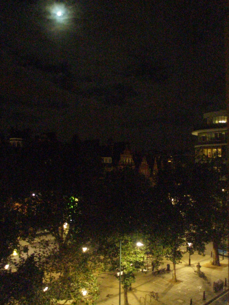 An insomniac's view from my room at the Sloane Square Hotel, after all the sensible people in London had gone to sleep.