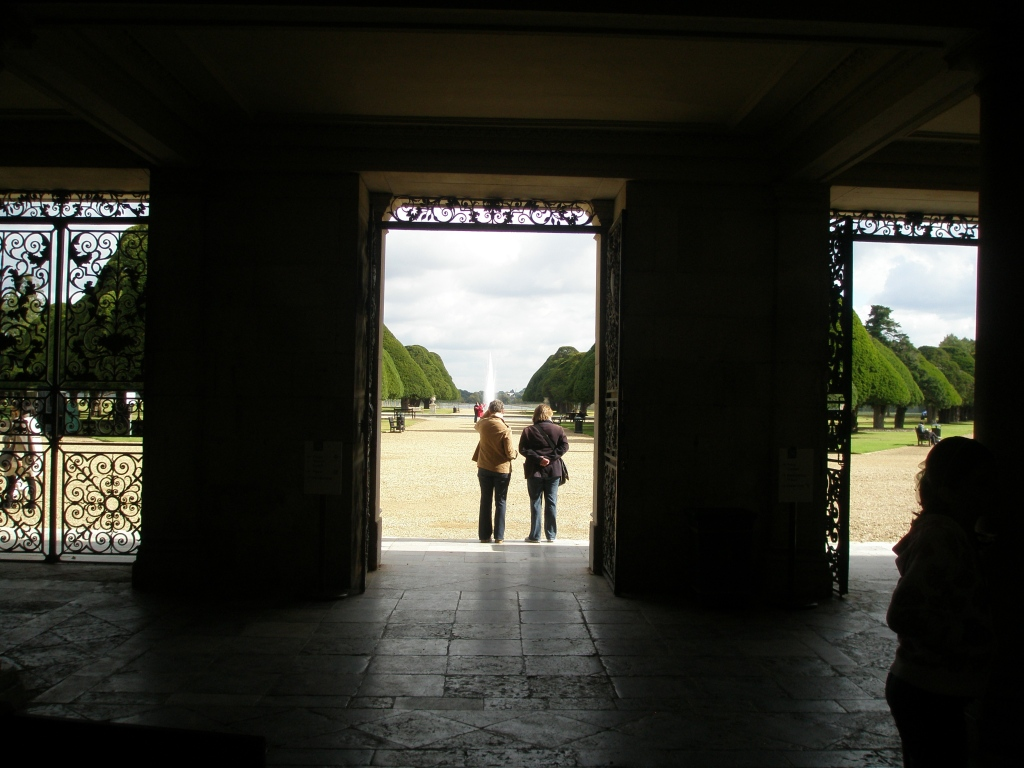 Exiting the East Front of the Fountain Court expansion, and looking out toward the Great Fountain Garden