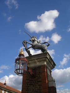 Unicorn atop Roadside Gates of Hampton Court Palace