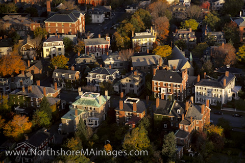 Aerial view of Chestnut Street in Autumn