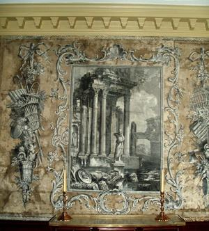 Detail of hand-painted wallpaper in Jeremiah Lee Mansion