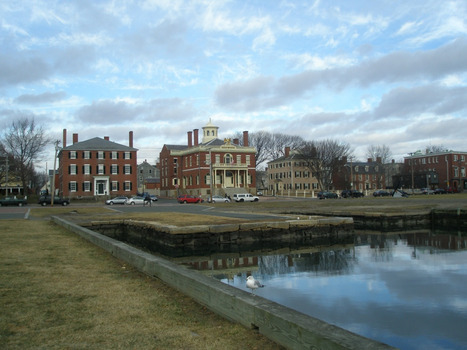 View from the beginning of Derby Wharf, looking back towards The Custom House, on Derby Street