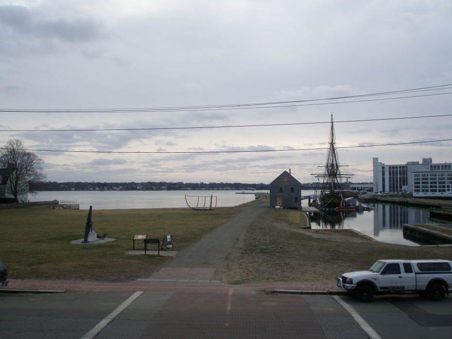 View from the front steps of The Custom House toward Derby Wharf and Salem Harbor