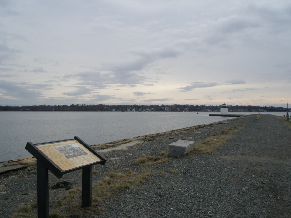 Part way down the half-mile-long Derby Wharf, with view of Marblehead, across Salem Harbor