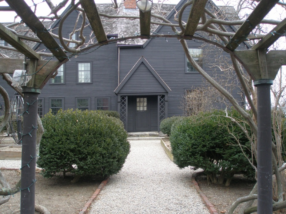 The main entry to The House of the Seven Gables, seen from Wisteria Arbor.