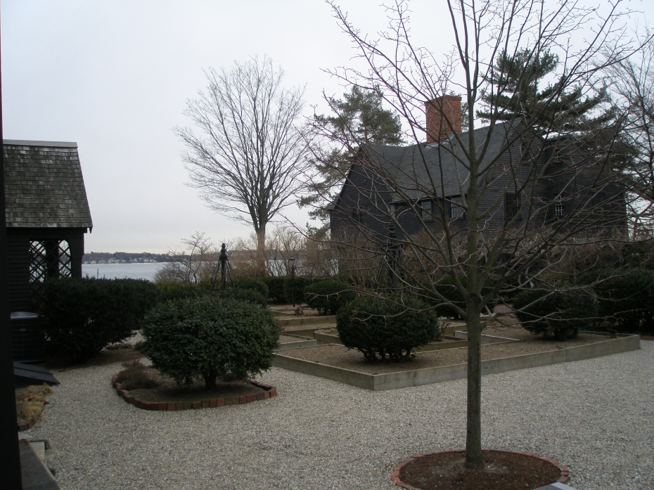Gardens, with view of Salem Harbor