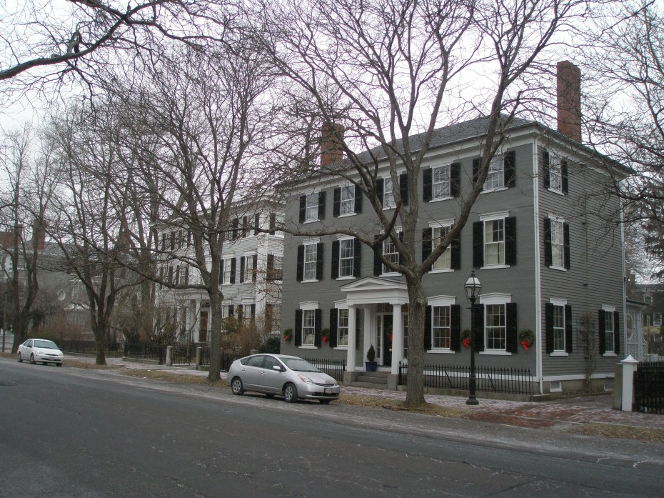 Ichabod Tucker House. #28 Chestnut Street. Believed to be the 2nd oldest dwelling on the Street, it was built by Sims Brothers in 1800. In 1846 the facade was completely rebuilt; today we have no idea what the Sims Brothers facade looked like.