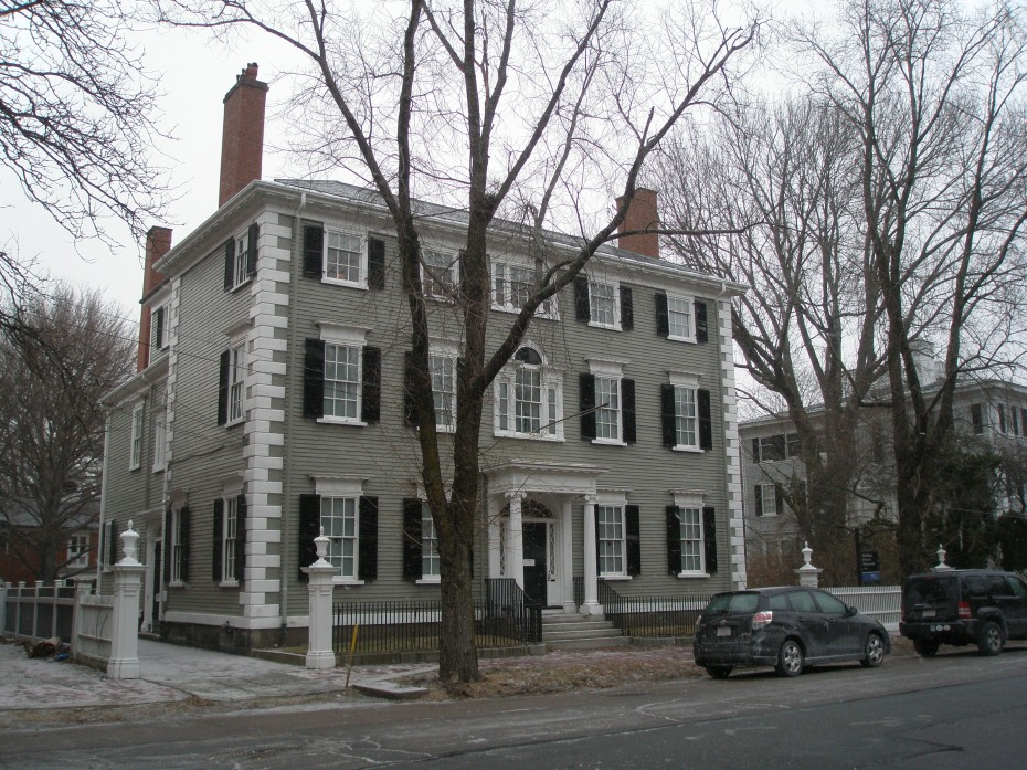 Phillips House Museum. #34 Chestnut Street. This is the only house on the Street which was moved there from another location. The ornate Federal-era wooden structure was built in the early 19th century on land in South Danvers (now Peabody). It was moved to its current location in 1824.