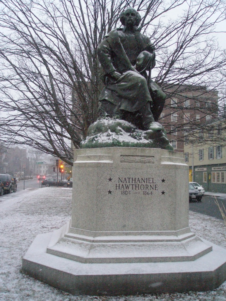 Statue of Nathaniel Hawthorne, by Bela Lyon Pratt. Located on--of course--Hawthorne Blvd., with the Hawthorne Hotel in the background.