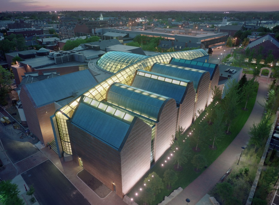 Raven's-eye View of the Peabody Essex Museum, at twilight.