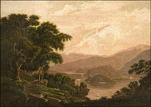 "During her seemingly interminable 5-year-long engagement to Nathaniel, who was in many respects a VERY slow starter, Sophia painted this scene for her beloved, to show him how idyllic their married life would eventually be! The two tiny figures in this idealized Italian landscape, titled ""Isola San Giovanni"" represent Sophia and Nathaniel."
