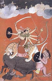 Durga Slaying the Buffalo Demon!