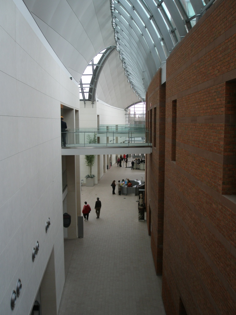 View down Entry Hall from 3rd floor catwalk.