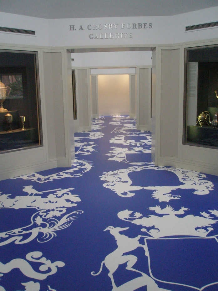 Michael Lin decorates floors and walls with vast enlargements of ornamental porcelain and fabric designs. His transformed spaces are wonderful.