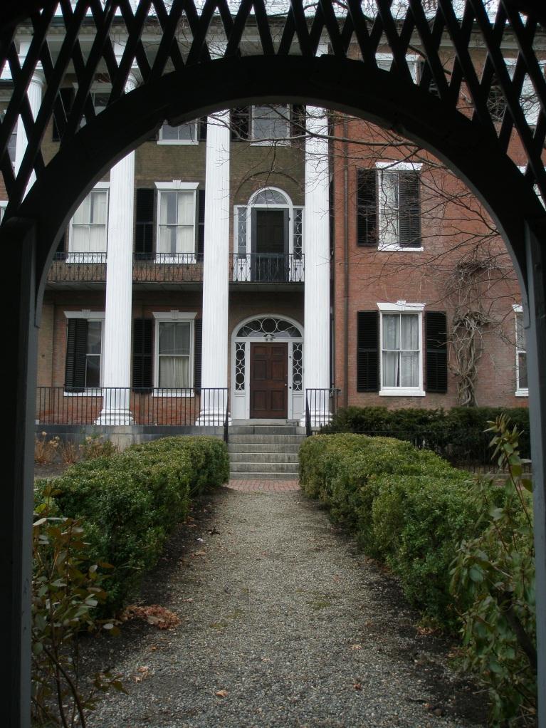 Federal Garden--View through arbor of Andrew-Safford House