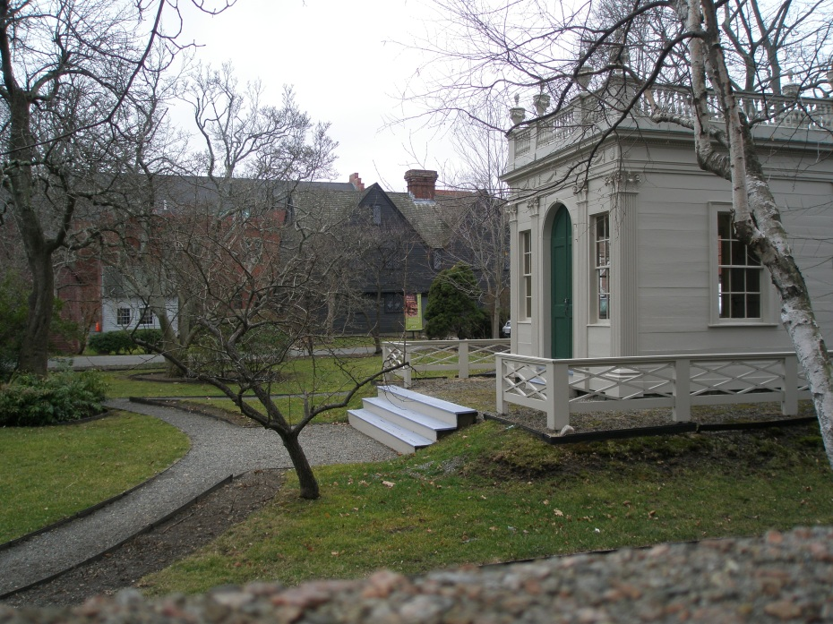 A chilly winter's day in the Federal Garden. Derby-Beebe Summer House, with John Ward House in background.