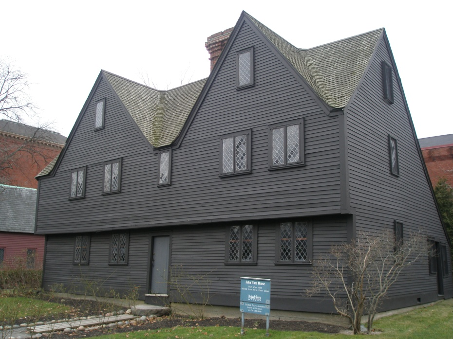John Ward House. Built in 1668. At Brown Street opposite Howard, in the Federal Gardens. One of New England's best examples of a wood-frame-and-clapboard 17th century dwelling...but not nearly as grand as the similarly-formed Turner Mansion (aka The House of the 7 Gables, which was built in 1668).