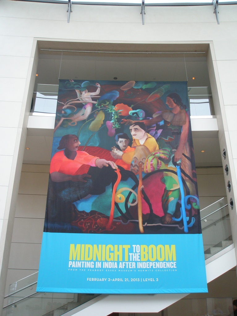 Banner in PEM Atrium for MIDNIGHT TO THE BOOM, featuring painting by Ranbir Singh Kaleka. FAMILY--1.  1983.