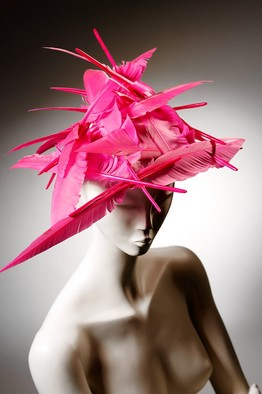 A pink, goose feather creation, by Philip Treacy. 1995.