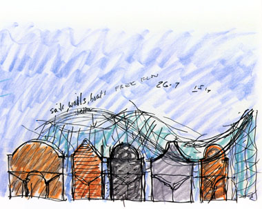 Architect Moshe Safdie's sketch of New Gallery Wing