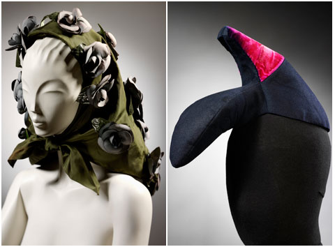 On left: Green Silk Headscarf with applied gray roses. Mitza Bricard for Christian Dior. 1969. On right: Shoe Hat, by Schiaparelli.