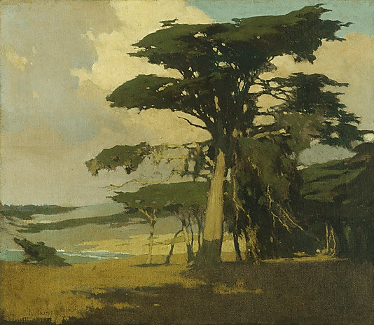AFTERNOON AMONG THE CYPRESS. By Arthur Frank Mathews. 1905. Photo, courtesy of the MET.