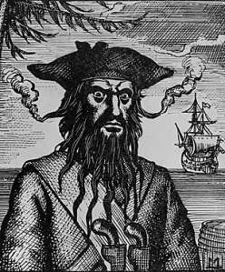 Edward Teach (1680--1718), better known as the fearsome Blackbeard.