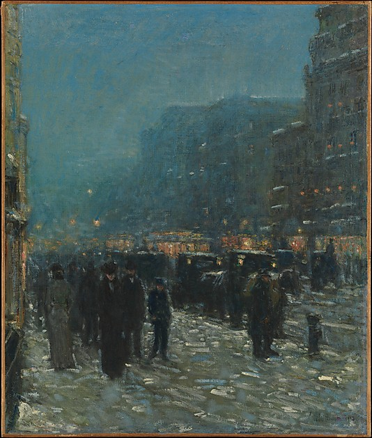 BROADWAY & 42nd STREET. By Childe Hassam. 1902. Photo, courtesy of the MET.