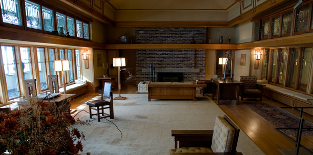 Francis W. Little living room by Frank Lloyd Wright. 1912-14. Photo courtesy of the MET.