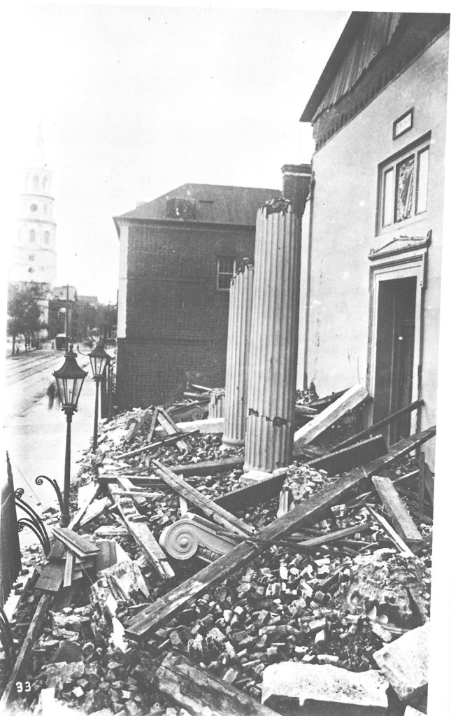 The damage at Hibernian Hall, on Meeting Street, after the 1886 Earthquake. Photo, courtesy of the Charleston Library Society.