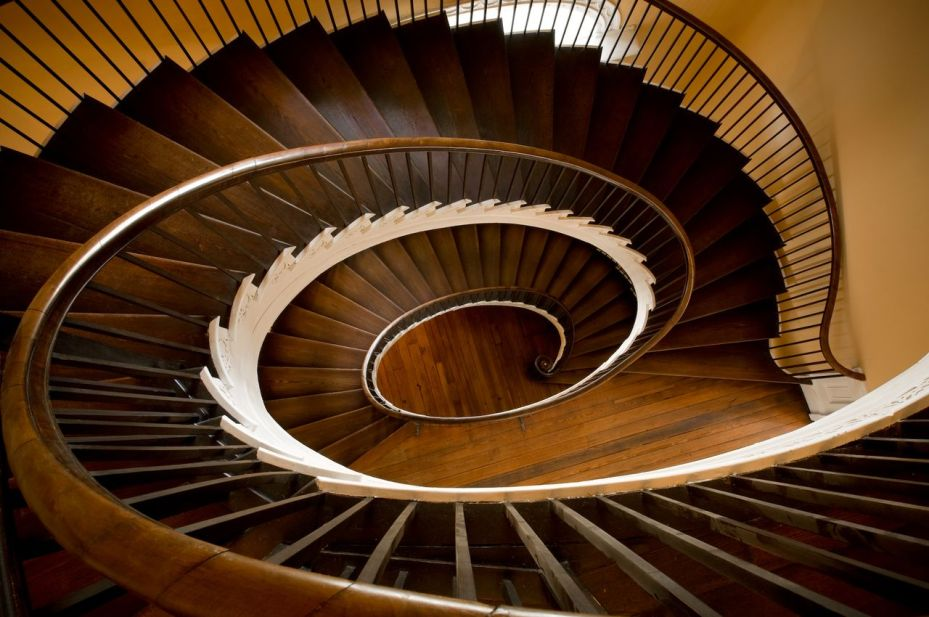 Three dizzying flights of cantilevered steps.