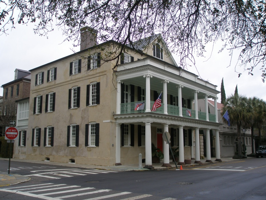 The Branford-Horry House, 59 Meeting Street at Tradd Street. This was built on the Double-Pile Plan in 1750, and the portico which covers the Meeting Street sidewalk was added in 1830.