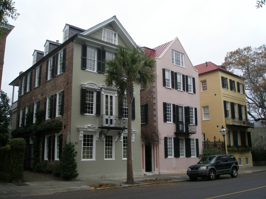 An array of Candy-Colored, Single-Wide Houses...these 3 unusual in their lack of side gardens and porches.