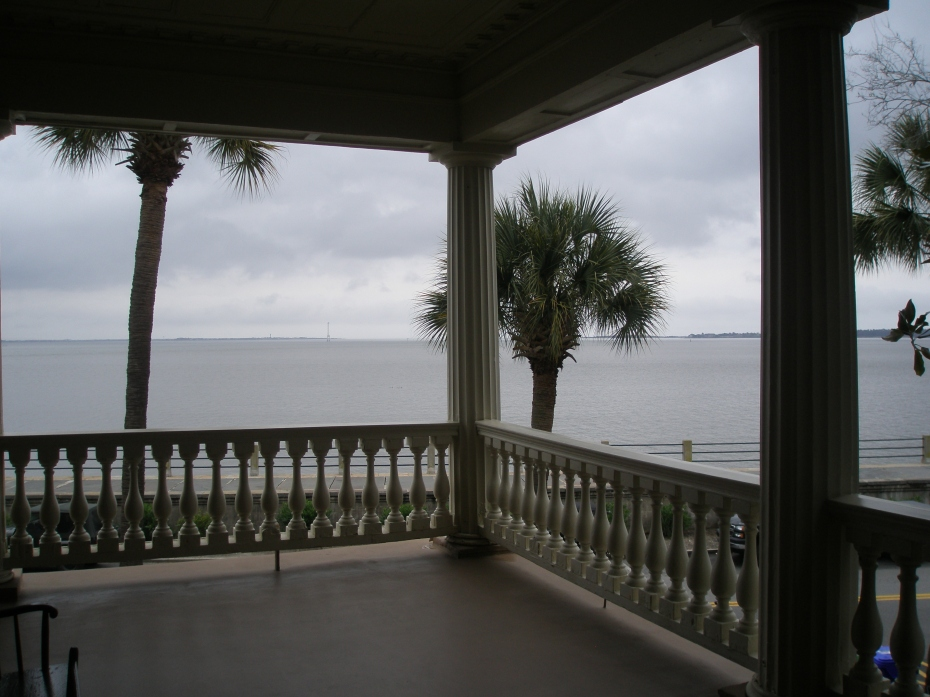 The 2nd floor Loggia, with view of Fort Sumter
