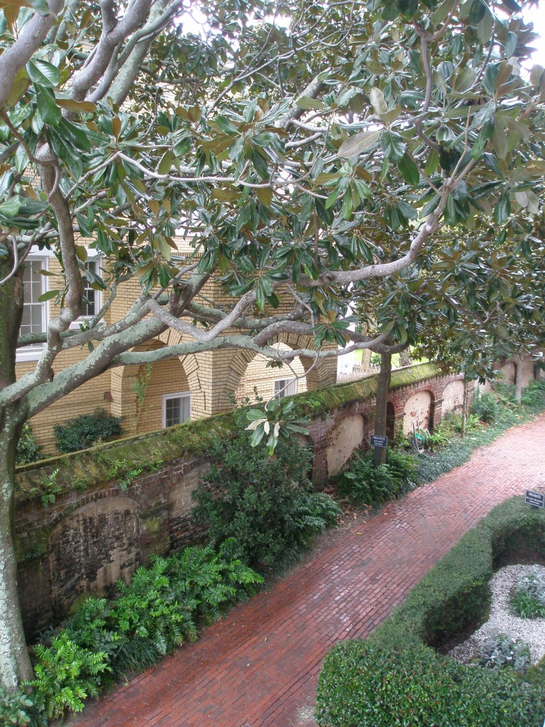 View from 2nd floor loggia toward back gardens, which are private.