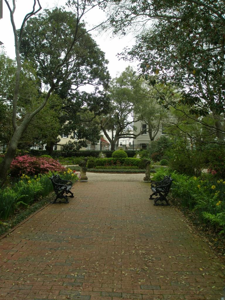 In the garden, looking toward Meeting Street