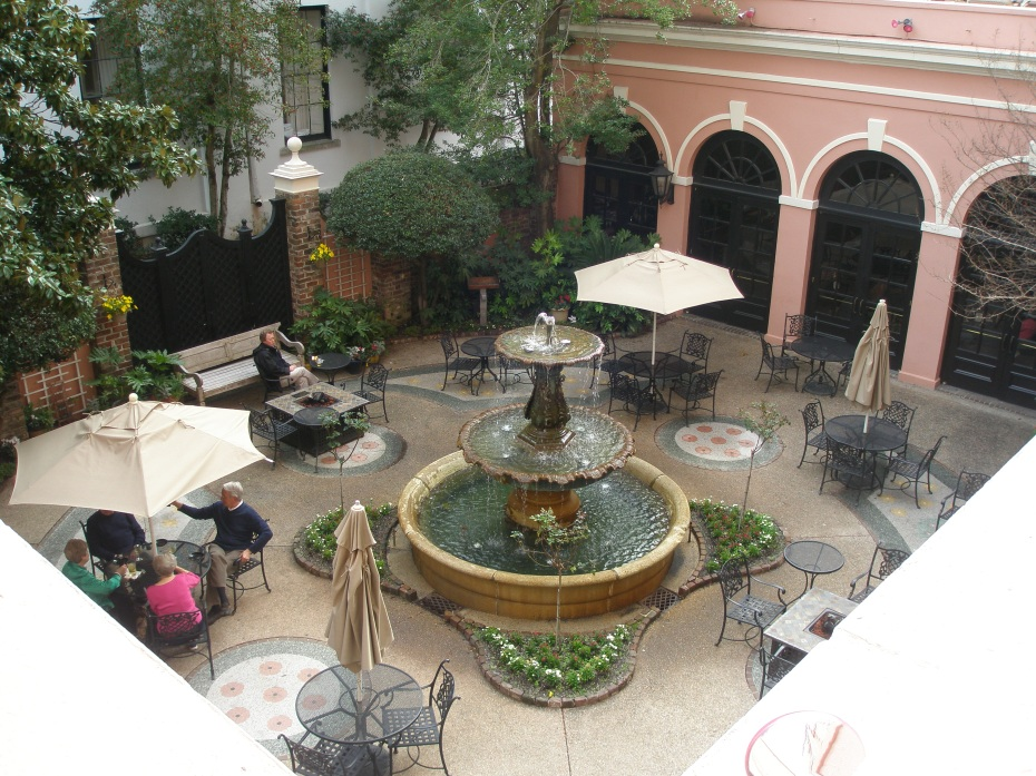Fountain Court at the Mills House Hotel.