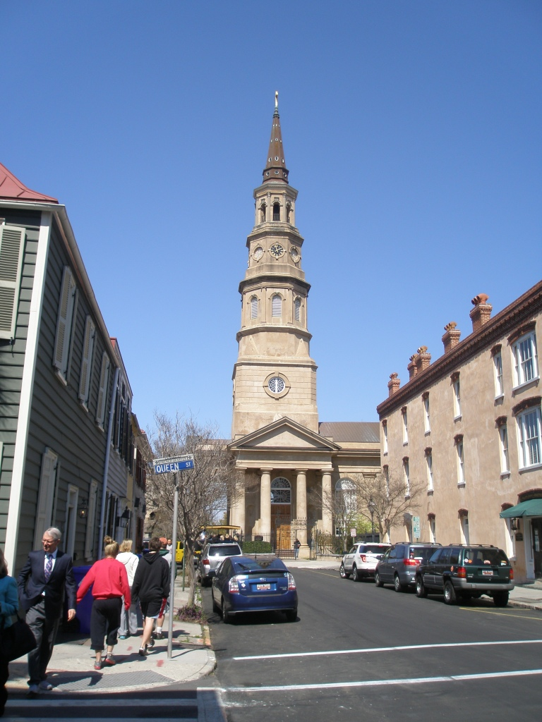 St.Philip's Episcopal Church, 146 Church Street. Built in 1835 by architect Joseph Hyde. Steeple added in 1848-50, by architect Edward Brickell White, who also designed the nearby French Hugenot Church. This steeple is one of the two most prominent in the city (the other being the steeple of St.Michael's.