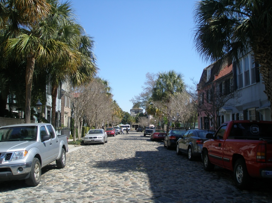 "A Cobble-Stoned Street. According to Michael Trouche, ladies whose pregnancies were becoming uncomfortably extended would hitch rides over Charleston's more bumpy roads..the most of famous of which was nicknamed ""Labor Lane."""