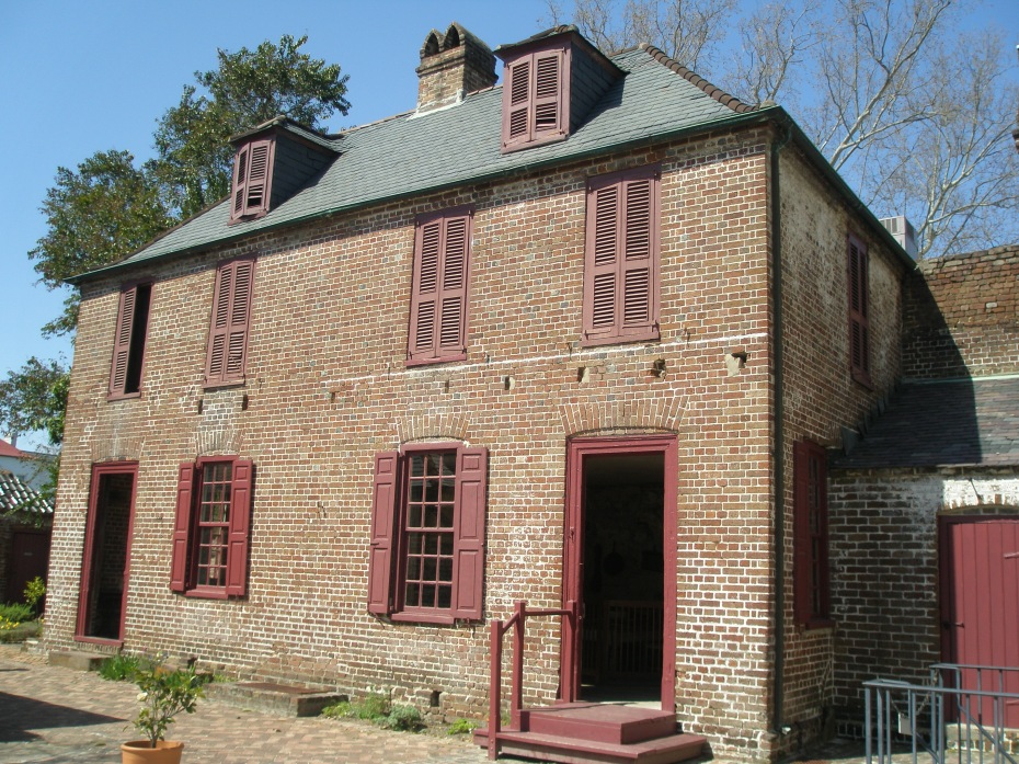 Separate from the main house: the Kitchen & Laundry Building. As a method of fire-prevention, most Charleston homes were built with outbuildings to contain  necessarily inflammatory activities such as cooking and heating water.