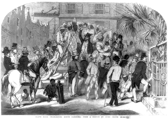 A Slave Sale in Charleston. Image, courtesy of the Library of Congress.