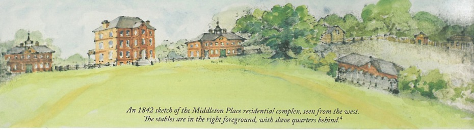 The complex of buildings at Middleton Place, as of 1842. Image courtesy of the Middleton Place Foundation.