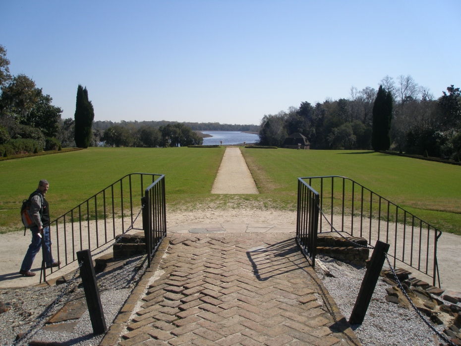 From the site of the Main House: a view down toward the Ashley River. A brick walk has been laid where the Center Hall was located: the Middletons positioned their home to capture the best view of the Ashley River.