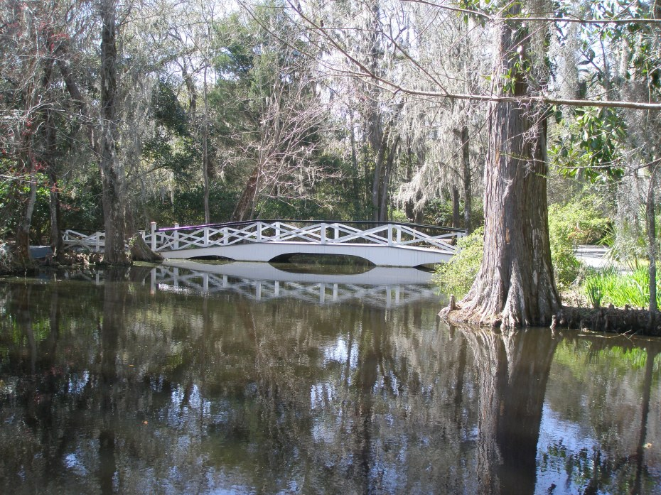 A bridge spans Big Cypress Lake, where white herons are often found.
